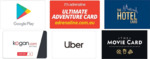 10% off Google Play, Adrenaline, Uber, The Hotel Card and The Movie Card Gift Card @ Woolworths
