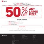 50% off Any Large Pizza @ Pizza Hut