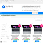 $300 off Listed Price on Selected Refurbished MacBook Pro (2017) + Free Standard Delivery (Prices from $999) @ Renewd