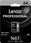 Lexar Professional 1667x 64GB SDXC UHS-II Card $30.30 + Delivery (Free with Prime & $49 Spend) @ Amazon UK via AU