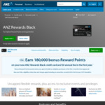 ANZ Rewards Black Credit Card: Earn 180,000 Reward Points (Worth $800) with $2,000 Min Spend in 3 Months, $0 Annual Fee 1st Year