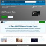 ANZ Rewards Black Credit Card: Earn 180,000 Reward Points (Worth $800) with $2,000 Min Spend in 3 Months, $0 Annual Fee 1st Year