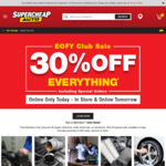 [Club Plus] 30% off RRP Storewide @ Supercheap Auto