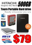 """Hitachi Touro 500GB USB3 2.5"""" Portable HDD $79 in Store from DCOMP"""