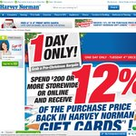 Harvey Norman Spend $200 or More Get 12% off Value Gift Card on Tuesday