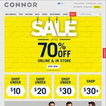 Sale up to 70% Off on All Items @ Connor + 20% off Pickup