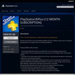 HK PlayStation Plus (12 MONTH SUBSCRIPTION) - $32 (HK $188) for New PS Plus Members
