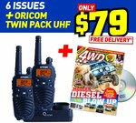Oricom Handheld UHF CB Radio Twin Pack UHF2190 + 6 issues of 4WD Action (incl. 6 DVDs) $79 delivered.