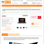 """MSI GS73VR 7RF-296AU Stealth Pro 4K 17.3"""" i7-7700HQ 16GB 256GB 1TB GTX1060 6GB W10 Gaming Laptop @ $2899 FreeShip +Bonus Headset"""