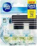 ½ Price Ambi Pur Air Freshener for Car 7.5ml $4.45 | Refill 2X7.5ml  $5 (Total 6 Products) @ Woolworths