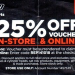 25% off Voucher In-Store & Online @ Repco