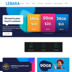 Lebara Mobile 18GB for $10, 36GB for $15 and 50GB for $25 (First Month Only)