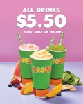 All Boost Drinks $5.50 via Boost Juice App