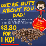 1kg Chocolate Coated Chilli Peanuts $8.80 + Delivery @ Nuts About Life