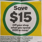 [QLD] $15 off When You Spend $100 @ Woolworths,  Eight Mile Plains, Westfield Garden City, Springwood or Underwood Marketplace