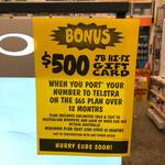 Bonus $500 JB Hi-Fi Gift Card With Port in to Telstra's 12 Month Postpaid Plan ($65/Mth, 60GB Data) in-Store Only @ JB Hi-Fi