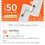 [VIC] 10 x $5 Vouchers (New Users) @ DiDi