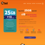 25GB Per Month for 12 Months Unlimited Talk & Text 100 Mins International Calls | $18/M @ Etel Mobile