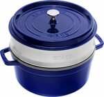Staub Cocotte with Steamer Round 26cm Dark Blue $279.01 + Delivery ($0 with Prime) @ Amazon UK via AU