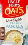 UNCLE TOBYS Oats Quick Sachets Creamy Vanilla, 12 Sachets $2.12 ($1.96 S&S) + Delivery ($0 with Prime/ $39 Spend) @ Amazon AU