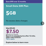 Small Optus Data Plan 5GB $7.50/Month (Includes Optus Sport Access, Reverts to $15 after 12 Months) @ Optus (App)