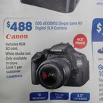 Canon EOS 600DKIS Single Lens Camera + 8GB SD Card $488 @ Officeworks