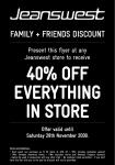 Jeanswest - 40% OFF Everything in Store Incl. Clearance Stores
