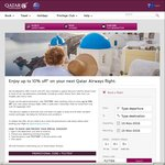 Enjoy up to 10% off* on Your Next Qatar Airways Flight