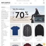 Mr Simple Up To 70% off Clearance Sale T-Shirts from $14.70 This Weekend Online Only
