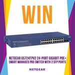 Win a Netgear GS724TPv2 24-Port Gigabit PoE+ Smart Managed Pro Switch Worth $450.98 from Mwave