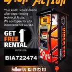 1 Free Rental at Video Ezy Express, Expires 5th October