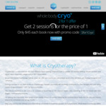 2 for 1 Whole Body Sessions of Cryotherapy for $90 @ Cryo (Sydney)