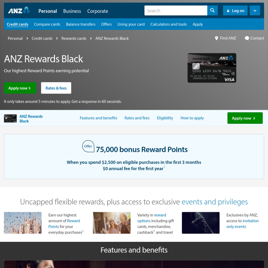 ANZ Rewards Black Card 75,000 Points - $375 Annual Fee, Waived First ...