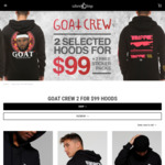2 For $99.95 Goat Crew Hoodies +2 FREE Sticker Packs @ Culture Kings