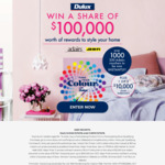 Win 1 of 3 $10,000 Voucher Prizes or Instant Win 1 of 1400 $50 Adairs Vouchers [Purchase Any Dulux Paint (Includes Sample Pots)]