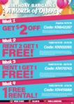 5 VideoEzy Deals over 4 Weeks: $2 off, Rent 2 Get 1 Free, Rent 1 Get 1 Free, 1 Free Rental @ VideoEzy Kiosk