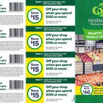 [VIC] $15 off $100+ Spend @ Woolworths - Balwyn, Box Hill, Middle Camberwell