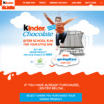 Win 1 of 5 Kinder Prize Packs or a Springfree Trampoline Daily [Purchase Kinder Chocolate Product from Big W or Woolworths]