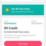 [NSW] Free $9 Credit @ Coco Fresh Tea & Juice via Liven App (New Users)