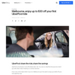 [VIC] $30 off Your First Uber Pool Ride @ Uber