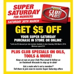 Free $5 Credit (Minimum Spend $10) for Club Plus Members To Spend on Saturday 30 March @ Supercheap Auto