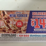 New Yorker Range $14.95 Delivered @ Domino's (Selected Stores)