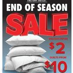 [VIC] Pillows from $2, Quilts from $10, 50% off RRP Mattresses + More (24/8) @ Tontine (Campbellfield)