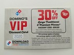 30% off Traditional/Premium Pizzas @ Domino's (Participating Stores)