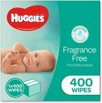 Huggies Baby Wipes Fragrance Free 400 Refill $12.71 / $10.80 (Sub & Save + Prime) + Delivery ($0 with Prime / $39+) @ Amazon AU