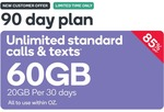 90-Day Prepaid SIM 60GB (20GB Per 30 Days) $14.90 - New Customers Only @ Kogan Mobile