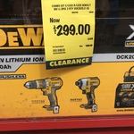 Dewalt 18v Combo Kit, Brushless with 2x 3.0ah Battery $299 @ Bunnings (Clearance)