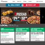 3 Large Traditional or Plant-Based Pizzas + 3 Sides $29.95 Pickup / $35.95 Delivered + More @ Domino's