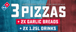 1000 Codes for 3 Large Traditional Pizzas + 2x Garlic Breads + 2x 1.25l Drinks $25.95 Delivered on 14/7 (FB Required) @ Domino's