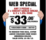 Domino's - Any 3 Pizzas, 2x Cheesy Garlic Bread & 2x 1.25l Coke from $33.00* Delivered